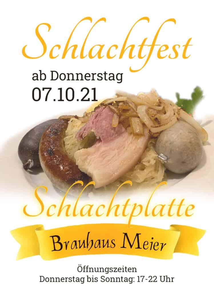 Schlachtfest im Brauhaus-Meier, Schlachtplatte ab Donnerstag, 7.10.21