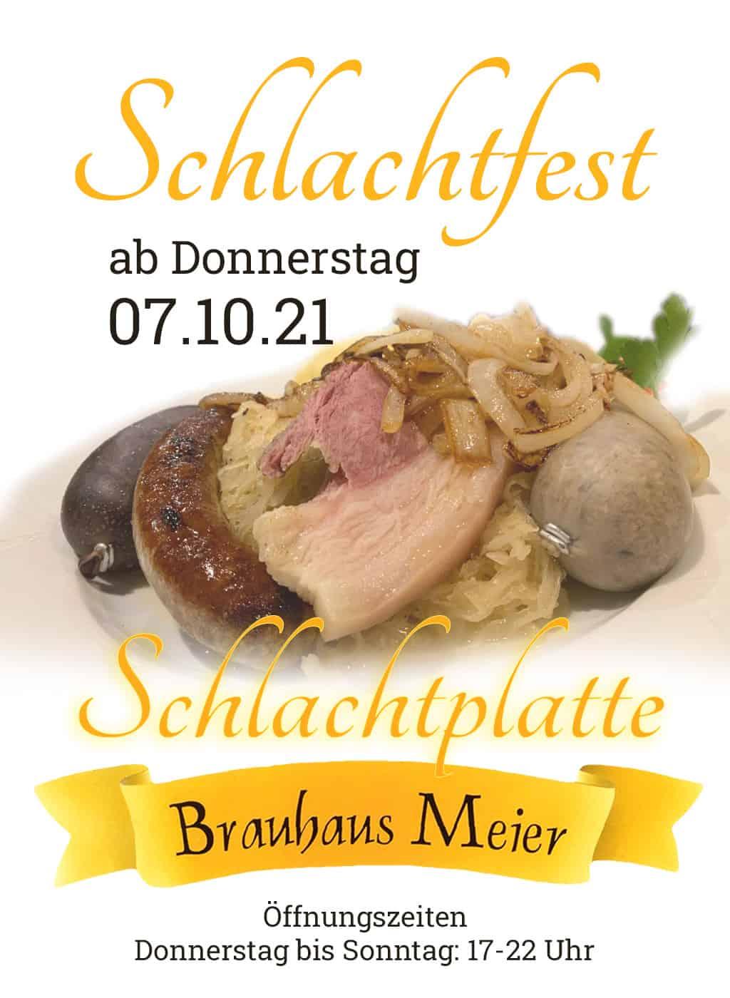 Schlachtfest im Brauhaus Meier, ab Donnerstag, 07. Oktober  2021